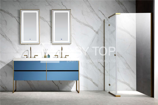 in Stock Germany Economical and Practical Contemporary Prussian Blue Floor Mounted Double Sink Vanity Cabinet