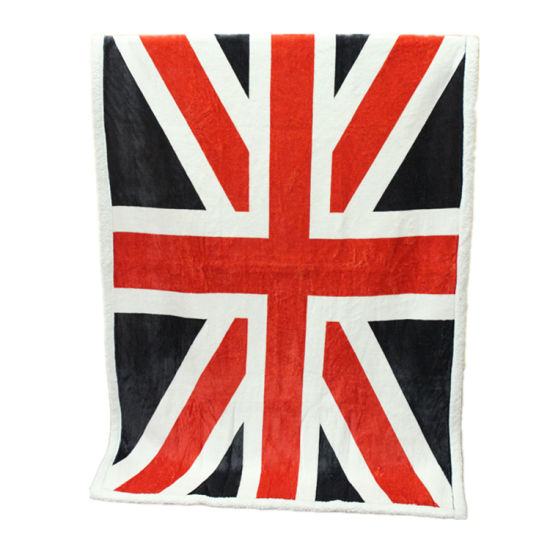 Double Layers Printed Sherpa Fleece Blanket with The Union Flag Pattern