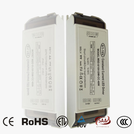 0-10V Dimmable LED Driver with Flicker Free 40W Power Supply