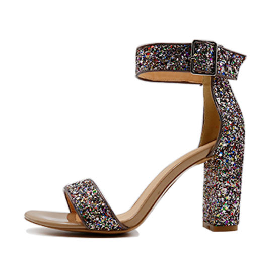 New Arrival Glitter Material Fancy Girls Block Heel Buckle Strap Women Sandals pictures & photos