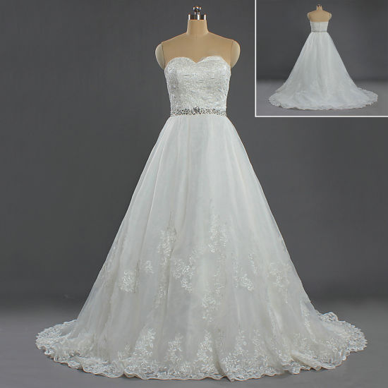 Women's Formal Strapless Bead Waist Lace Princess Wedding Gown for Bride