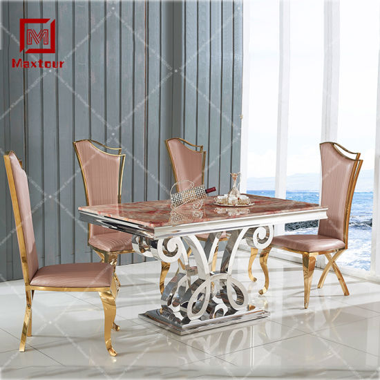 2019 Top Dining Room Furniture Marble Stainless Steel Wedding Dinner Table and Chairs Set