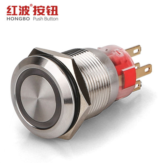 19mm Flat Round Low Price Metal Push Button On Off Switch With Led