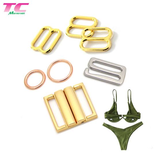 Eco Friendly Underwear Accessories Swimwear Metal Buckle Bikini Hooks Strap Rings Sliders Bra Hooks Adjusters pictures & photos