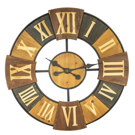 Round Wooden&Metal Clock with Carved Roman Numbers pictures & photos