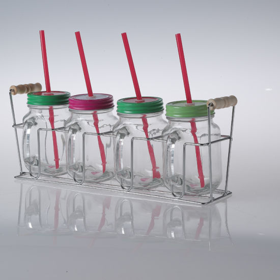 High Quality Drinking Juice Fruit Salad Glass Mason Jar Four Sets with Metal Screw Lid and Handle