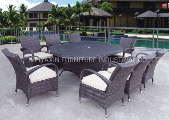 Outdoor Furniture Rattan Outdoor Dining Set Dining Table with Center Hole for Umbrella