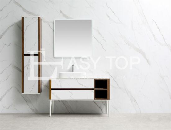 Australia Cabinets Design Classic Style Rock White + Walnut Floor Mounted One Sinkmodern Bathroom Vanity