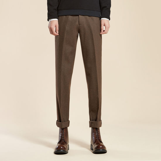 Custom Stylish Slack Leisure Casual Gingham Cigarette Cuffed Pleated Vintage Woolen Formal Mens Pants