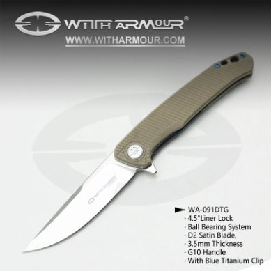 """Closed 4.5"""" Liner Lock Pocket Folding Knife with Ball Bearing System D2 Steel Satin Blade and G10 Handle"""