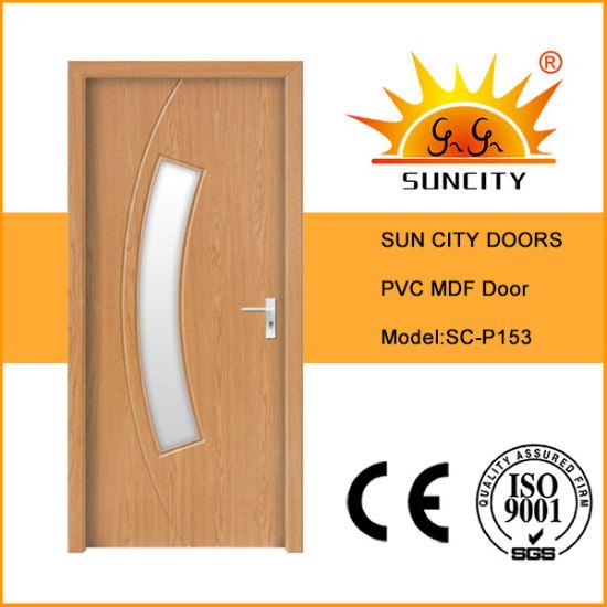 Latest Simple PVC Folding Wood Interior Room Flush Door Operators