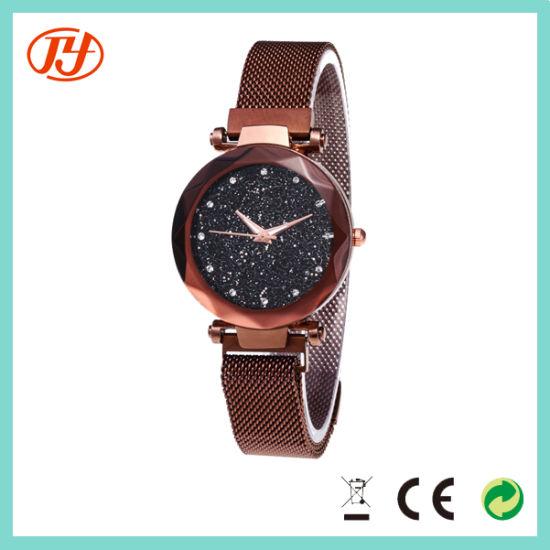 Dropship Brand Round Shape Crystal Bezel Wrist Watch for Female