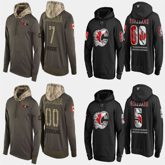 Military USA Flag Flames Mark Giordano T. J. Brodie Pullovers Hoodies