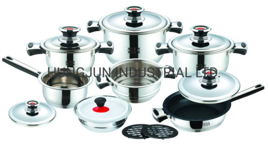 Cookware Set Wide Edge Home Appliance Kitchenware Utensil 16PCS Stainless Steel Cookware in Wide Edge