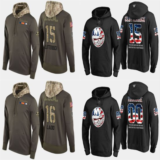 Military USA Flag Islanders Cal Clutterbuck Andrew Ladd Pullovers Hoodies