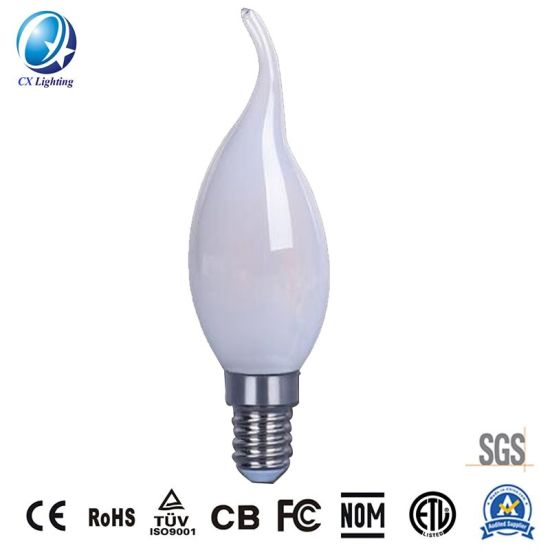 White Color LED Filament Light Candle Bulb C35t 4W with Curve Tail for Chandelier Replacement