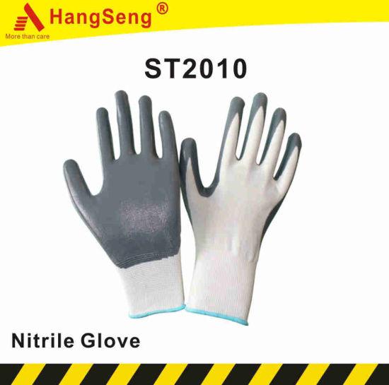 Regular Smooth Nitrile Coated Safety Work Glove (ST2010)