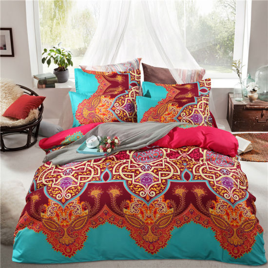 Indian Speciality Mandala Doona Cover Light Weight Duvet Cover with Pillows Boho Queen Bedding Set