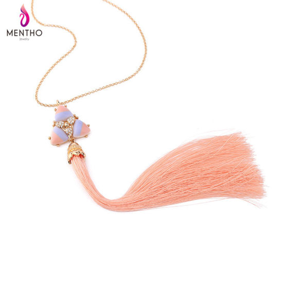Retro Diamond Studded Alloy Long Chain Women′s Necklace Long Thread Tassel Pendant Jewelry pictures & photos