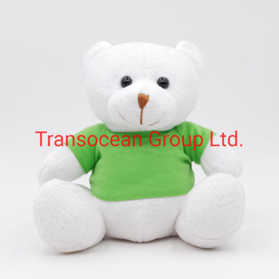Plush Cute Lovely Sitting White Bear with Green T-Shirt