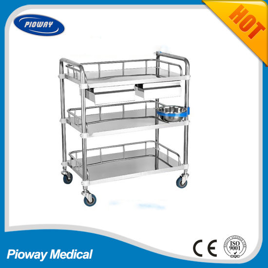 Medical Stainless Steel Instrument Hospital Trolley (PW-803)