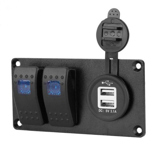 2 Gangs Dual Usb Port Car Marine Rocker Switch Panel For Car Boat Rv