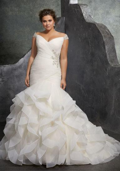 China Cap Sleeves Bridal Dress Pleated Organza Mermaid Wedding Gown ...