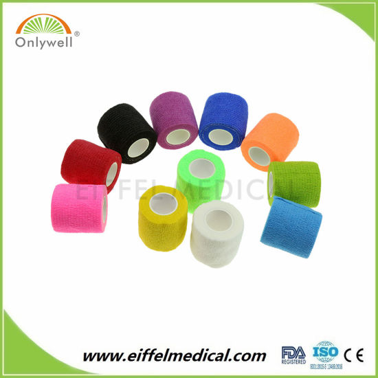 Cotton Medical Ce ISO Approved Non-Woven High Quality Good Price Cohesive Bandage