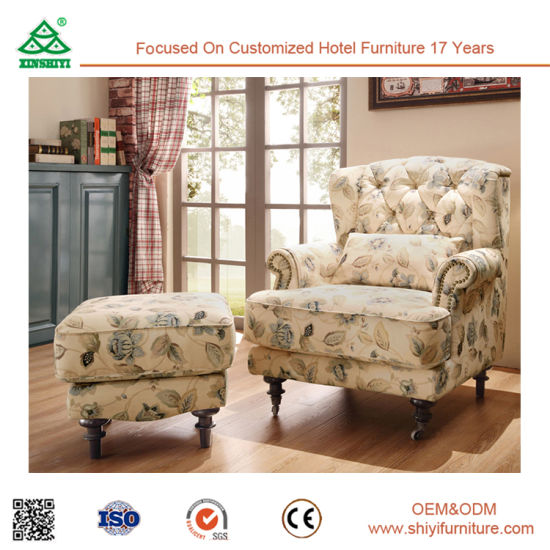 China European Style Sofa Chair Single Sofa With Solid Wood Leg