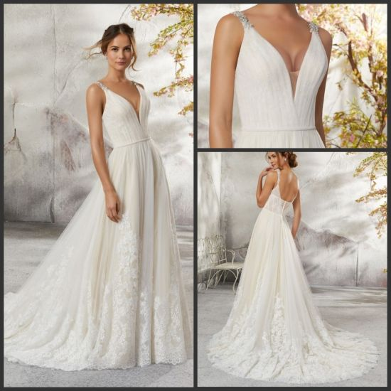 2019 Bridal Gown Lace Tulle V-Neck Wedding Dress H13426