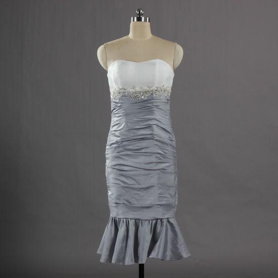 E634 New Design Strapless Taffeta Sheath Evening Dresses Short Party Dress