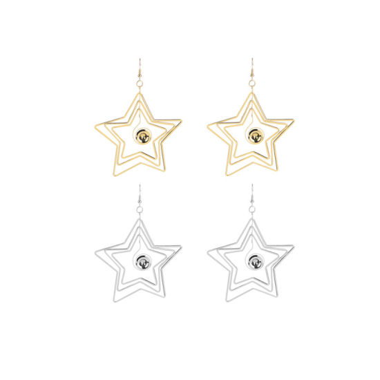 Lady′s Zinc Alloy Gold&Silver Layered Star Dangle Stud Earrings pictures & photos