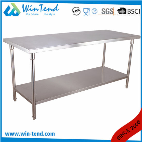 Kitchen Stainless Steel Work Table Workbench with Two Layers Board pictures & photos