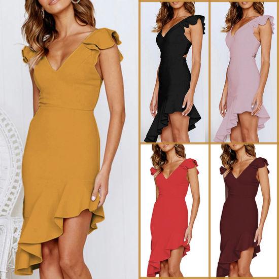 d0f3c48212a 2019 Amazon Hot-Sale New Models European American Women Sexy Back Lotus  Leaf Dress.