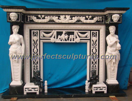Marble Fireplace with Carving Stone Sandstone Limestone Granite (QY-LS007) pictures & photos