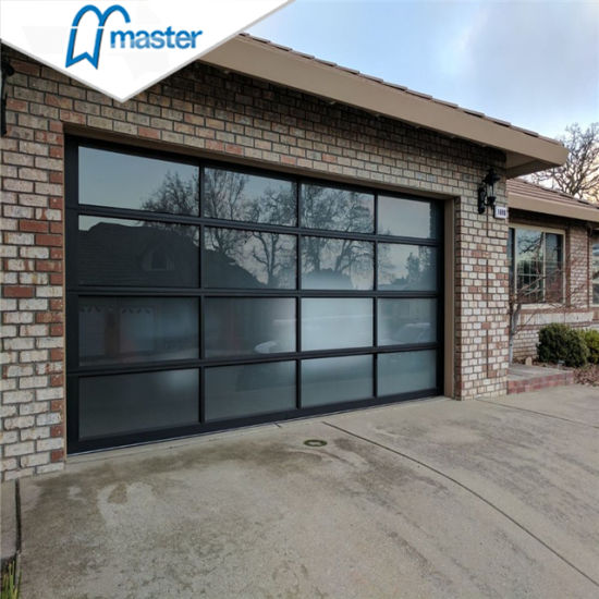 16X7 Frosted Aluminum Sectional Glass Panel Garage Doors