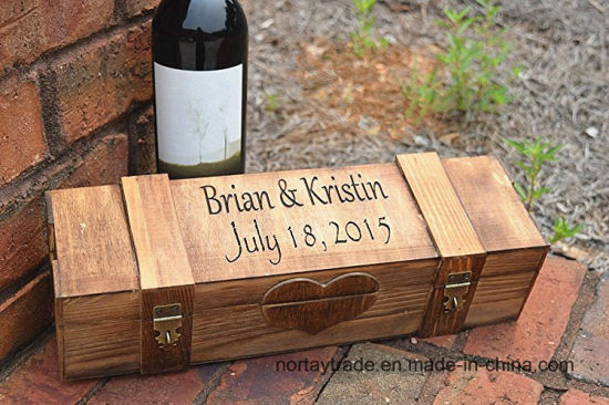 Personalized Ceremony Wood Wine Box with 2 Lockable Hinges-Lockable Wood Wine Box pictures & photos