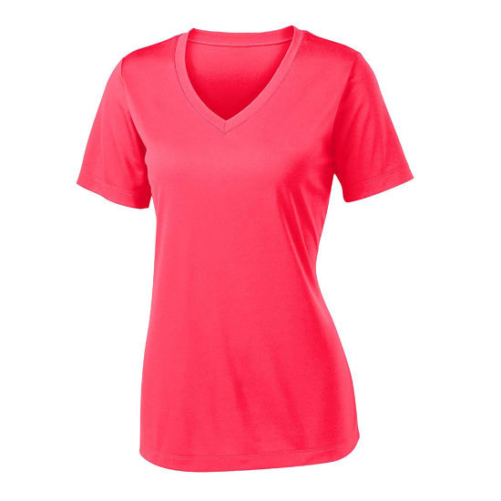 Women Fashion Short Sleeve V Neck Moisture Wicking Athletic T-Shirts pictures & photos