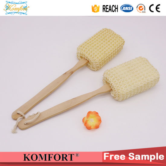 Wood Long Handle Exfoliating Body Back Scrubber Sisal Bath Brush (KLB-124) pictures & photos