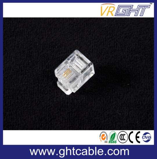 Rj11 Modular Plugs 6p2c for Solid Connectors Crystal Head pictures & photos
