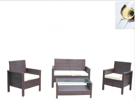 New Style 4PCS Outdoor Brown Rattan Furniture Set