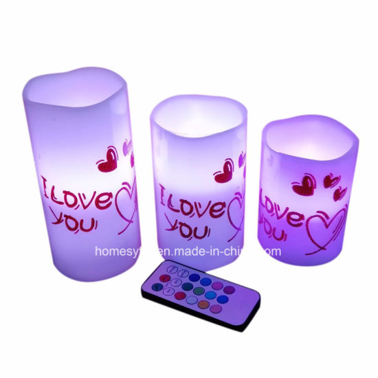 3pack Flameless LED Heart Decorative Pillar Candles pictures & photos