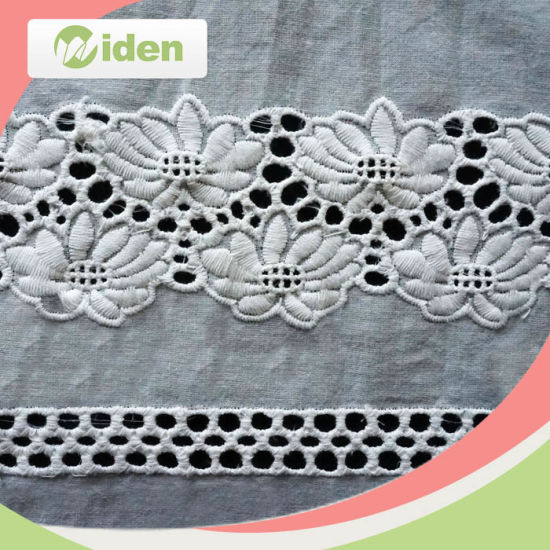 100 Cotton White Embroidery Lace Fabric with Holes
