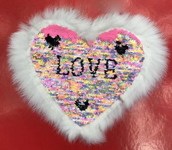 Heart Iron On Applique Patch Valentines Day Love Pink W//Silver Sequins