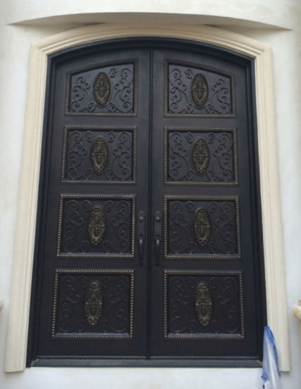 China Custom New Design Security Iron Entry Double Door For House
