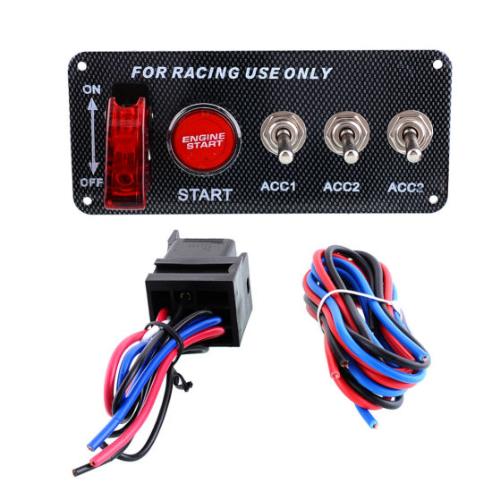 Racing Car 12V Ignition Illuminate Switch Panel Engine Start Push Button Toggle