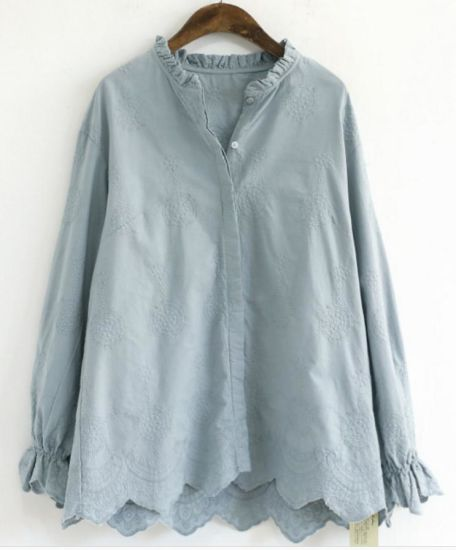 Ladies 100%Cotton Embroidery Woven Long Sleeve Shirts