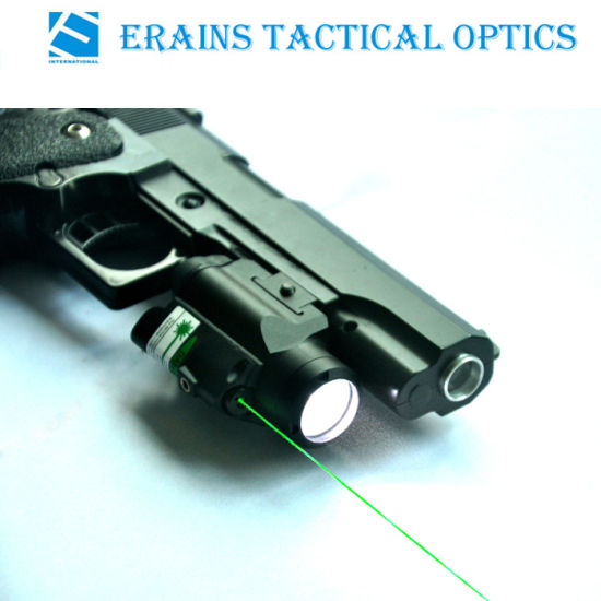 Compact Full Size Pistol Fittable Pressure Pad Switch Attached Tactical Green Laser Sight with 220 Lumens LED Flashlight