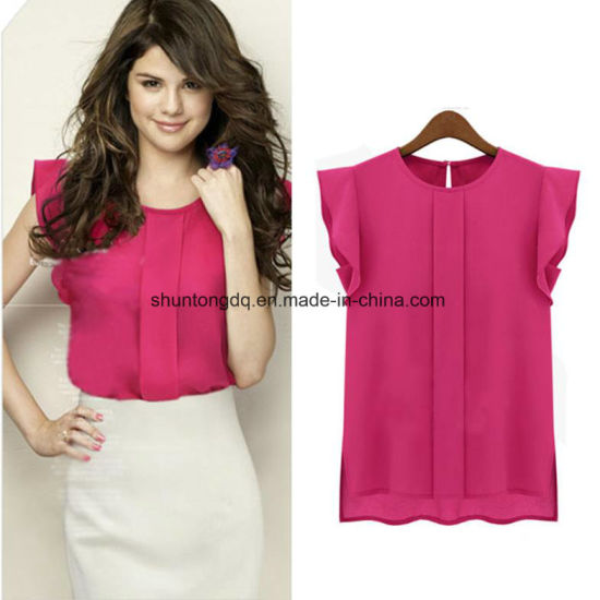 45ca5a3b0bbf5 Women Blouses Chiffon Clothing Summer Lady Blouse Shirt Sale Ruffle Short  Sleeve Tops Ol Blouse