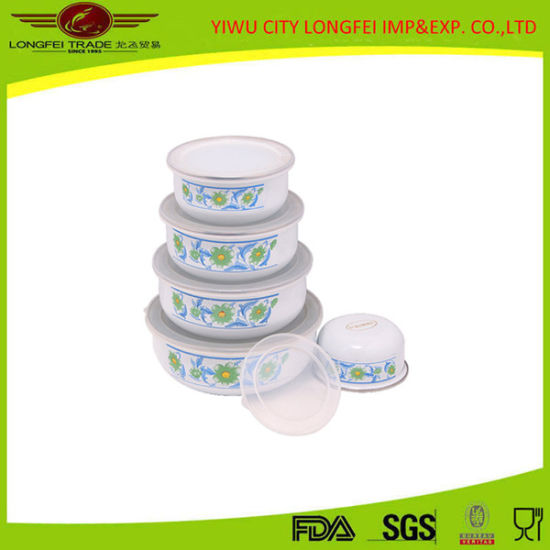 Enrich Your Good Life 5PCS Enamel Bowl with Lid pictures & photos